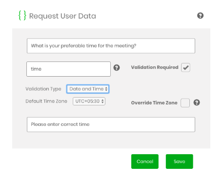 Request User Data feature with Engati chatbot platform
