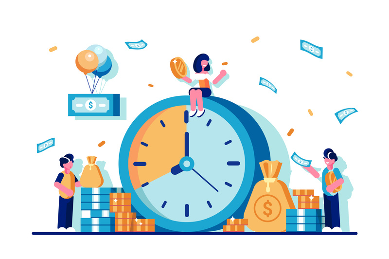 Time is money banknote coin save money time banking financial success business organization deadline clock team people flat business people vector character design illustration