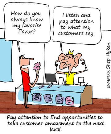 Paying attention to your customers needs, wants and expecation.