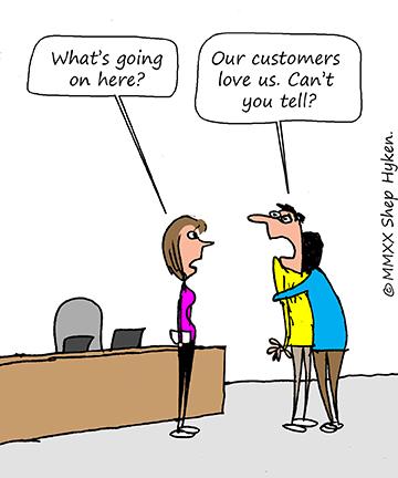 Your customer loves you - Cartoon