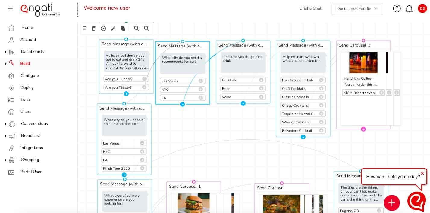 No code visual chatbot flow builder