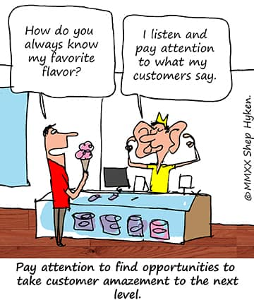 pay attention to what customers say: cartoon