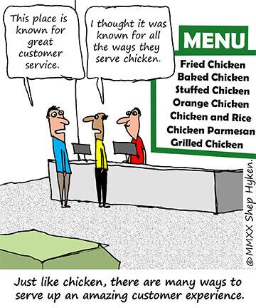 Shep Hyken customer experience cartoon on the various ways to create amazing experiences