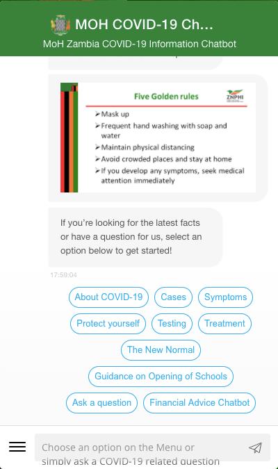 Zambian ministry of health uses Engati's chatbot platform.