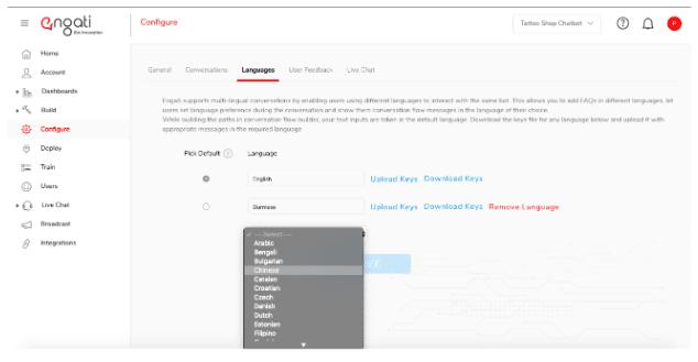 Engati's multilingual chatbots feature