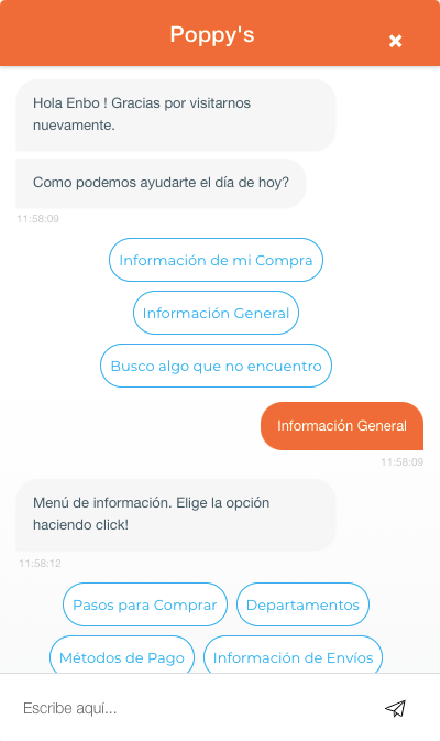 Poppy's using Engati's retail chatbot