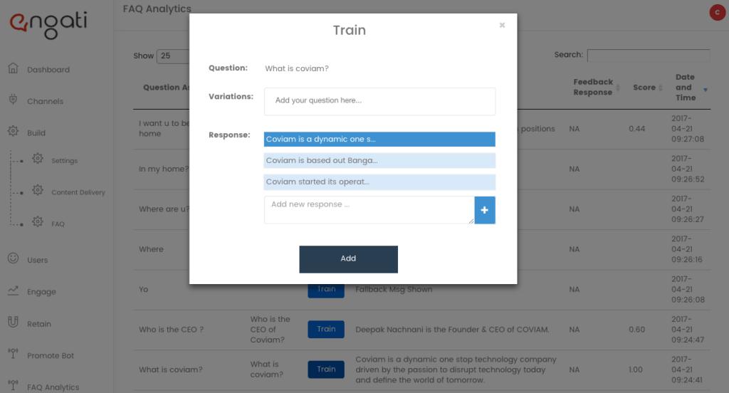 Chatbot FAQ training