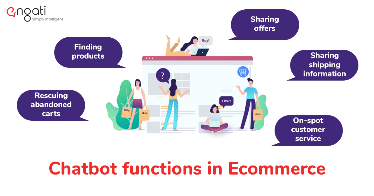 Chatbots serve many purposes like finding products, sharing offers, rescuing abandoned carts, sharing offers, sharing shipping information, on-demand customer service