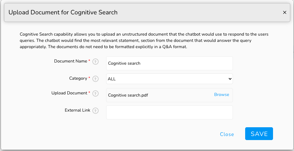 Train your chatbot with Cognitive Search