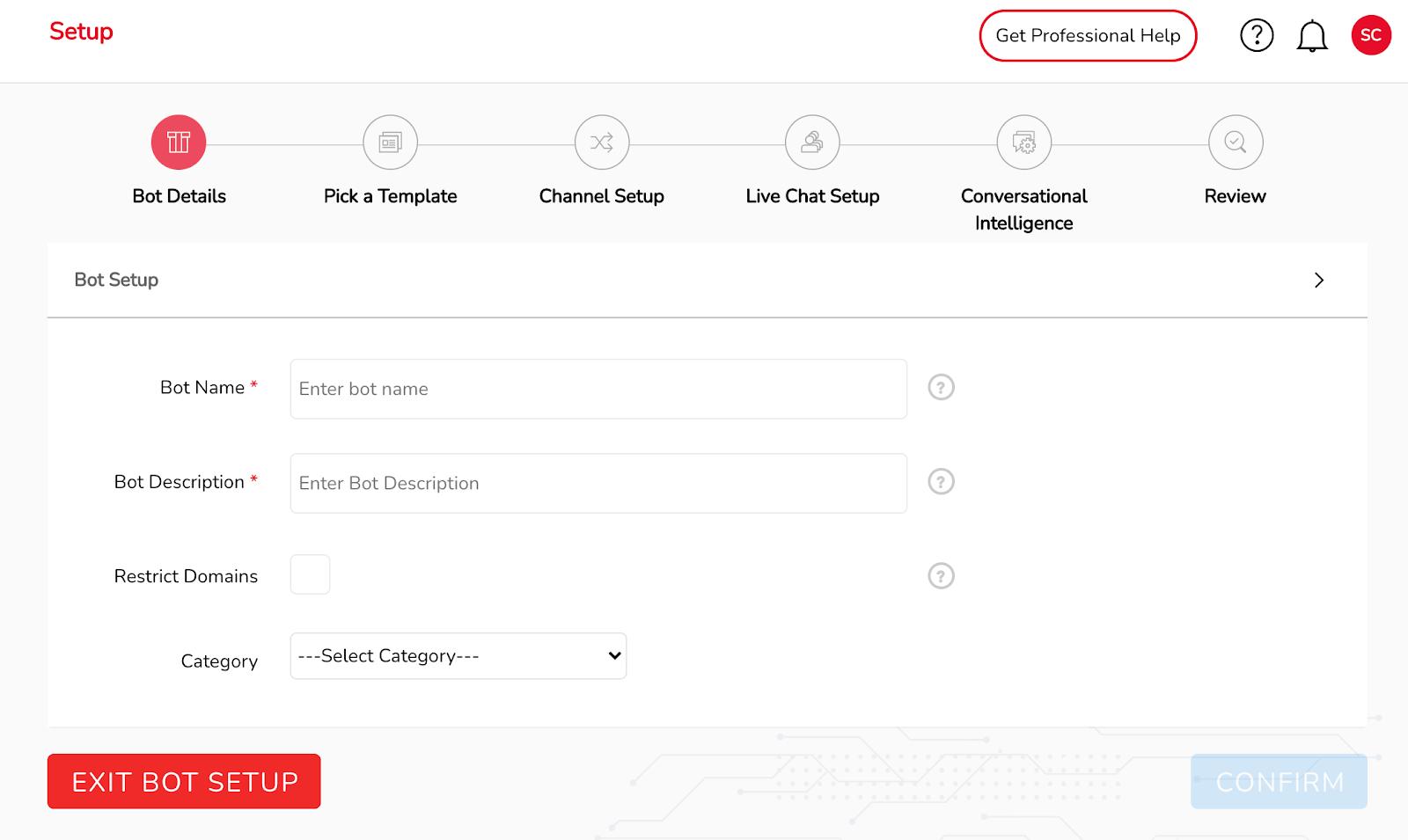 Chatbot setup details