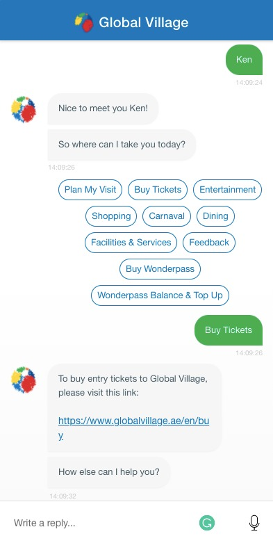 Global Village Engati Chatbot