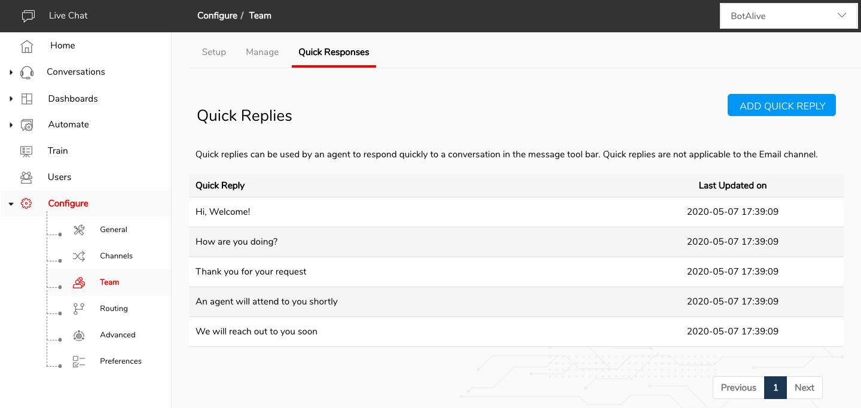 Engati Platform Quick Responses