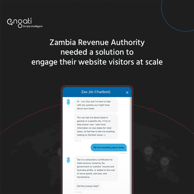 How Zambia Revenue Authority's solution engages website visitors