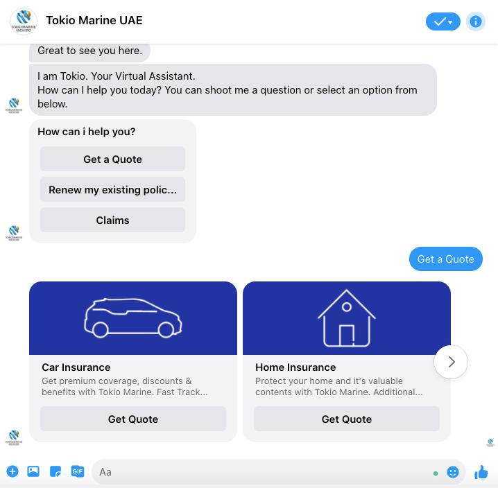 Tokio Marine Insurance chatbot