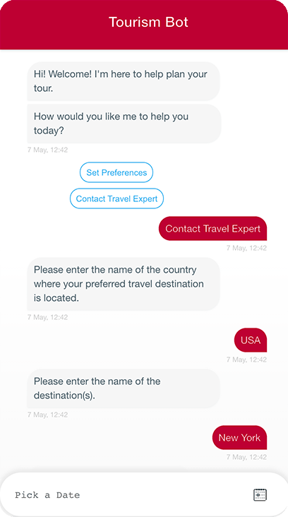 Chatbots for travel