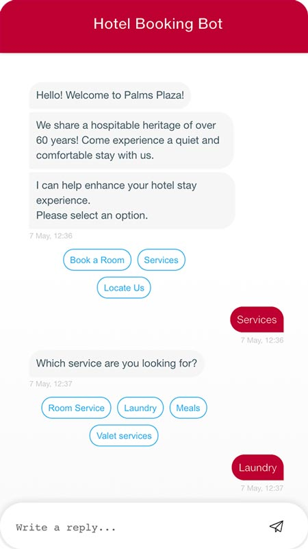 Hotel booking chatbot