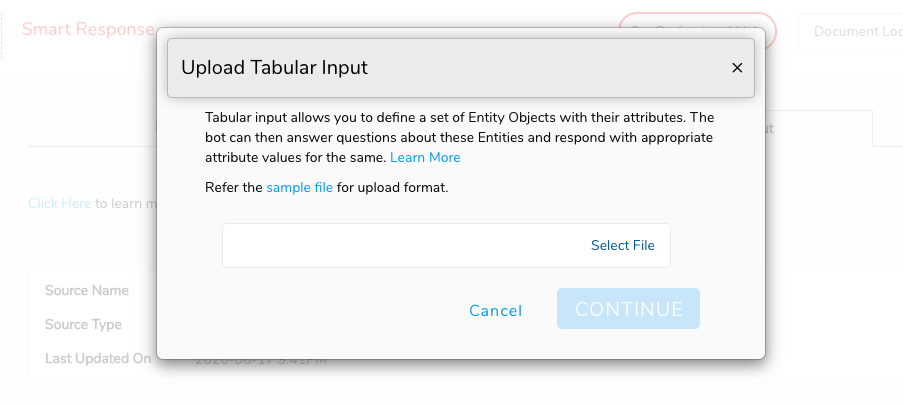 upload Tabular Input