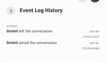 Access Event Log History in live chat