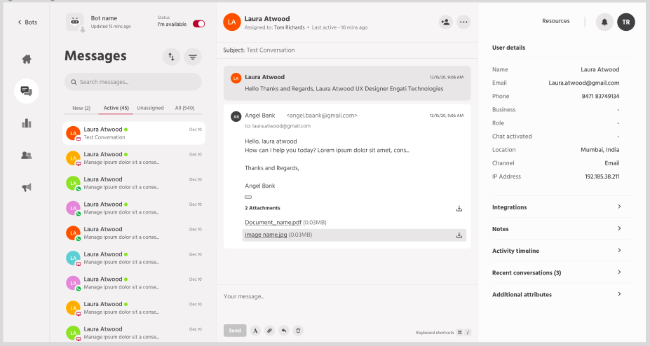 Reply to customer emails from the Engati OneView inbox