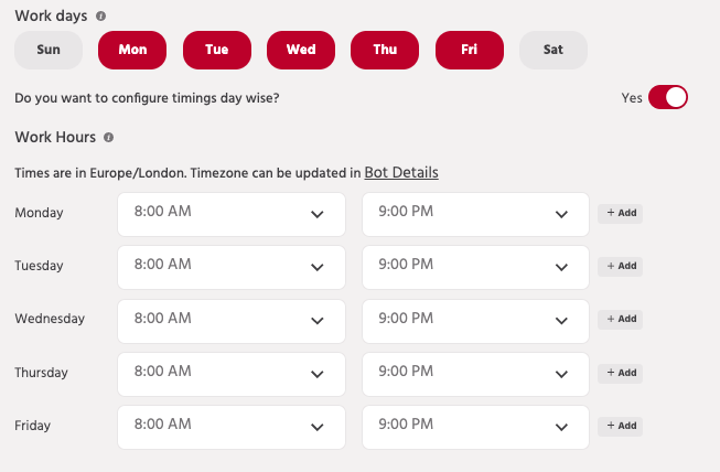 Schedule different live chat working hours depending on the day