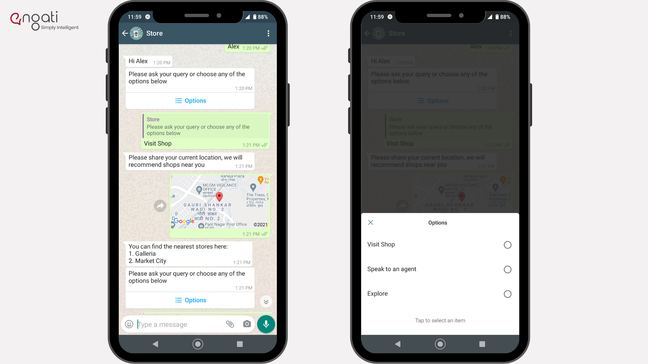 WhatsApp chatbot with buttons