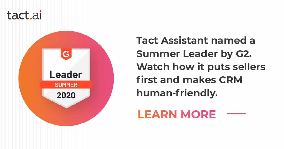 Customer Reviews Make Tact a G2 Summer 2020 Leader