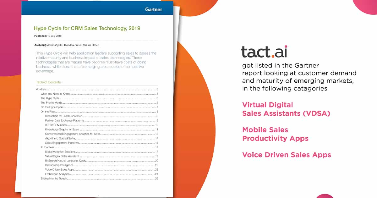 Tact.ai Named in Gartner Hype Cycle Report for CRM Technology 2019