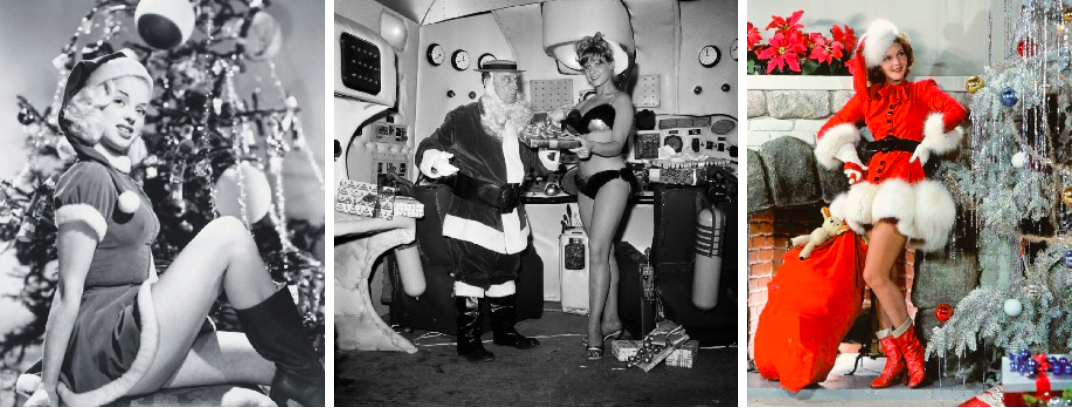 """British actress Diana Dors, circa 1955. (Getty Images) // Bobbi Shaw plays Santa's helper to Buster Keaton's Claus, exchanging gifts on the set of """"Beach Blanket Bingo"""" in 1964. (AP Photo) // Mary Martin, circa 1940. (Getty Images)"""