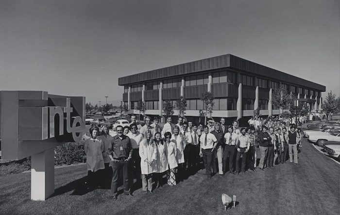 Intel employees gathered outside of their first office