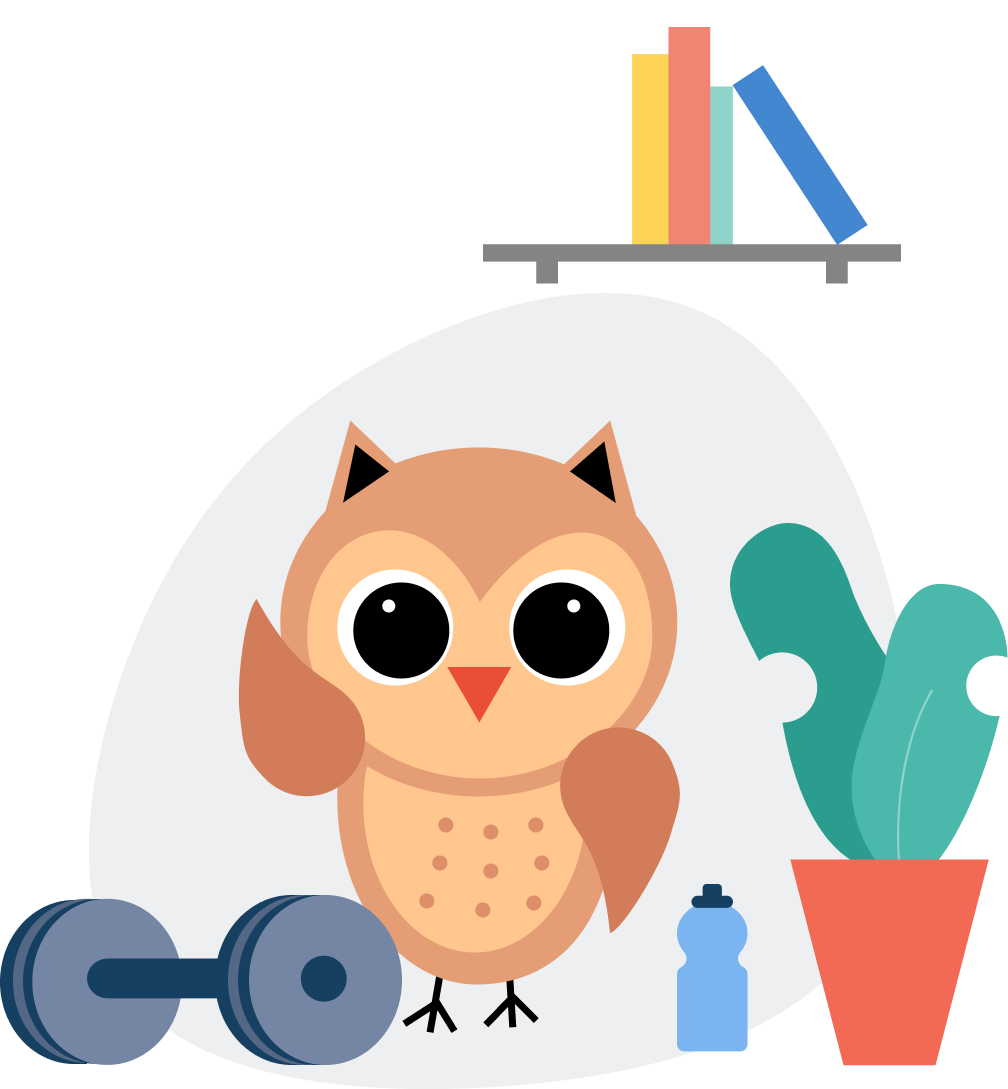 Owl working out gym