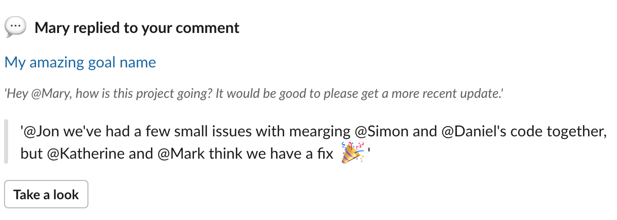 Slack message: Mary replied to your comment