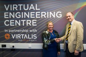 Lynn Dwyer, interim Head of Business Development within the Virtual Engineering Centre and The School of Engineering at The University of Liverpool with David Cockburn-Price Virtalis Managing Director