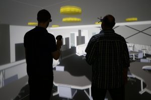 The main VR laboratory houses one of Virtalis' ActiveWall and Floor stereoscopic 3D display systems. It uses Christie Boxer 4K projection with ART optical tracking and Virtalis' Visionary Render software.