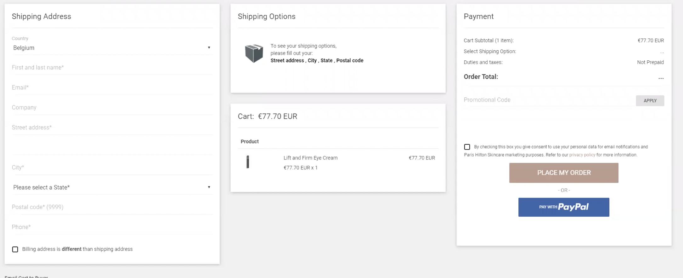 Zonos checkout process example showcasing how duties and taxes will be displayed and collected