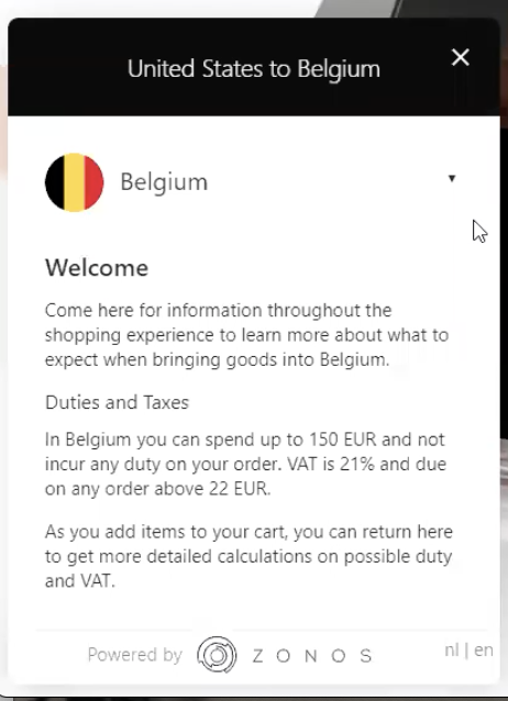 Zonos example pop up displaying duties and taxes