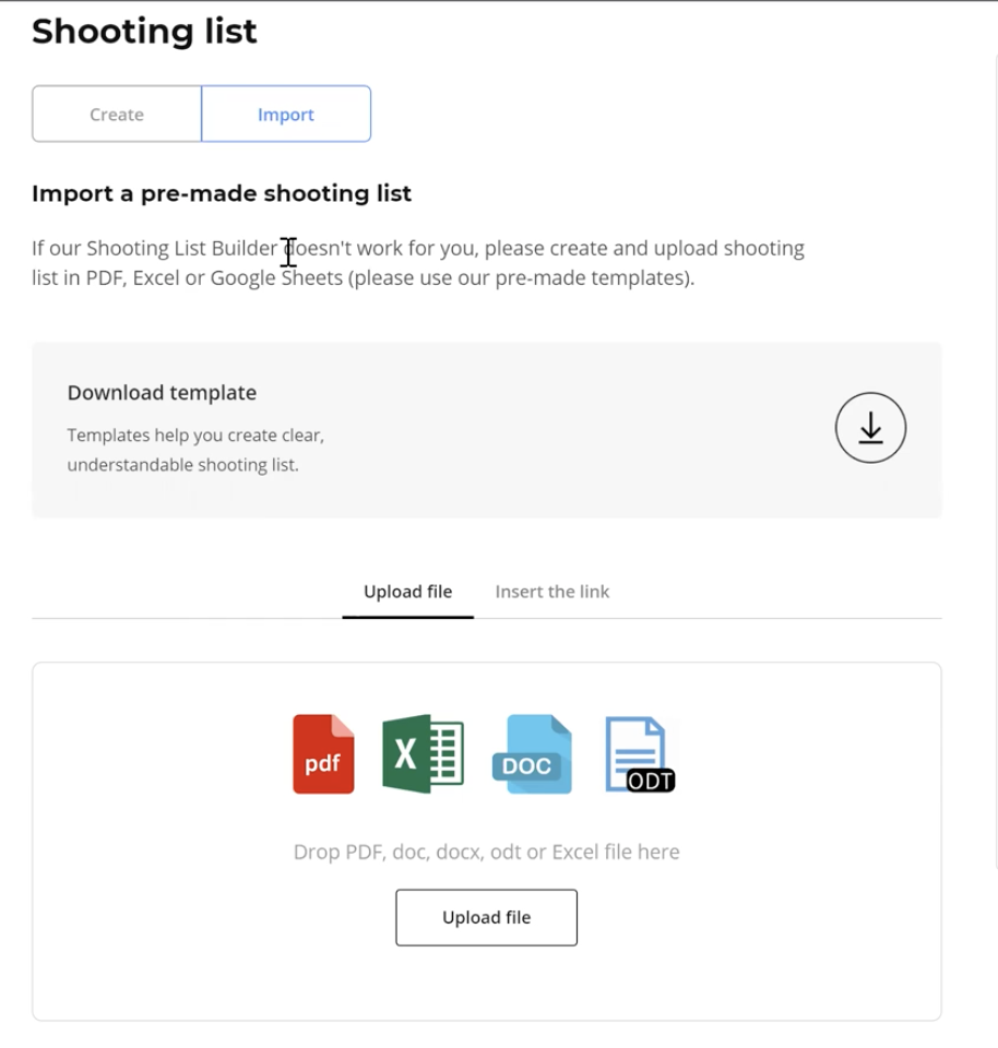 Squareshot shooting list example