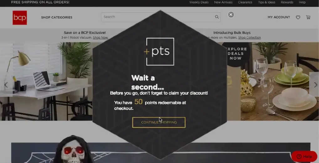 privy popup on pts website