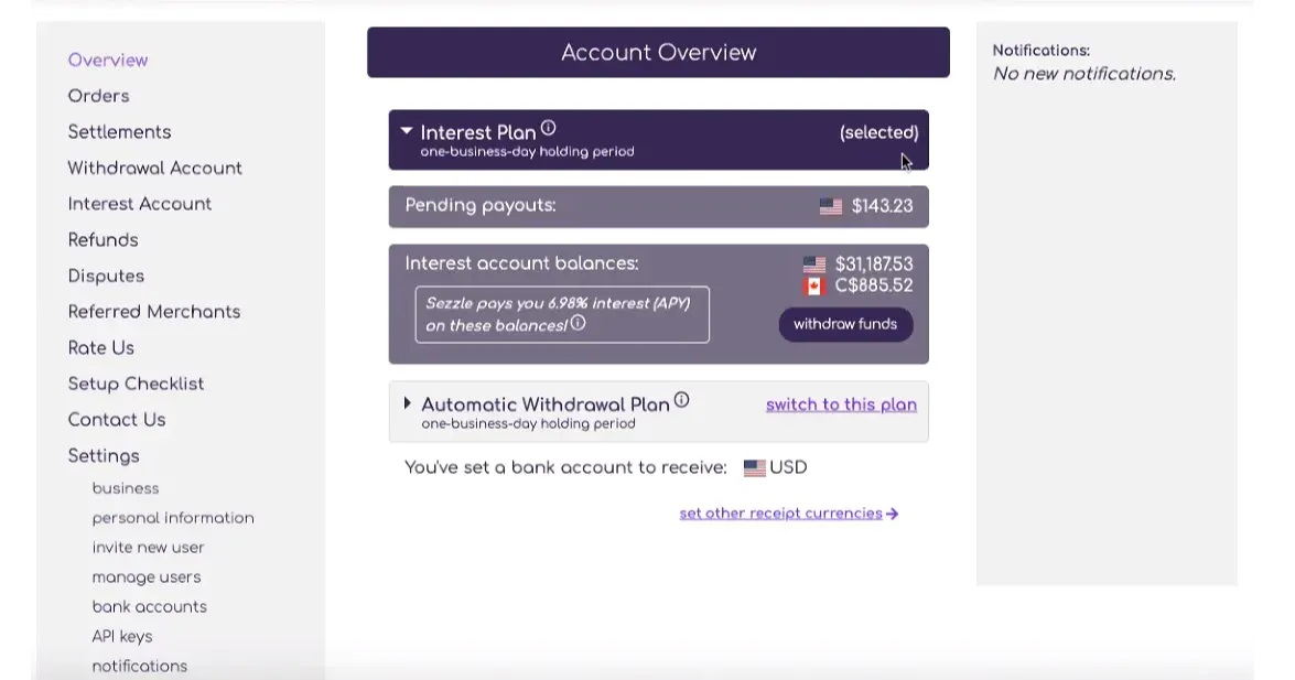 Sezzle Account Overview with Settings