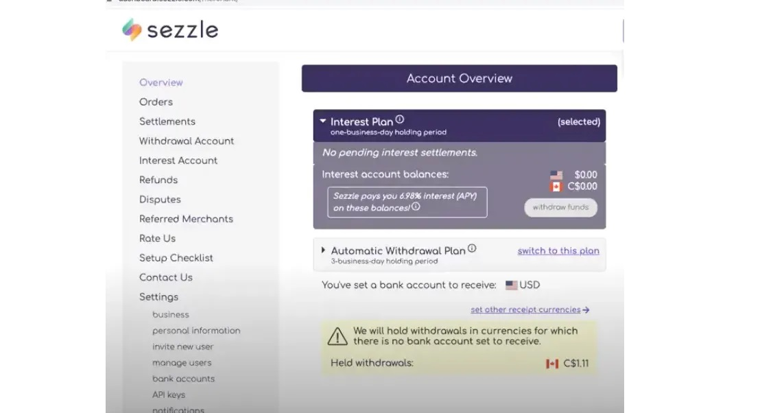 Sezzle Account Overview with Automatic Withdrawal Plan
