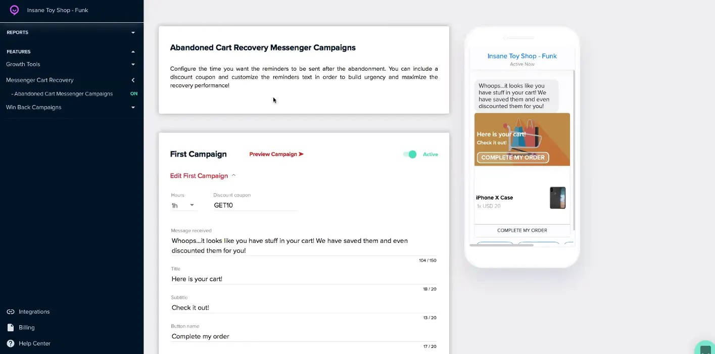flashchat cart recovery messenger campaigns