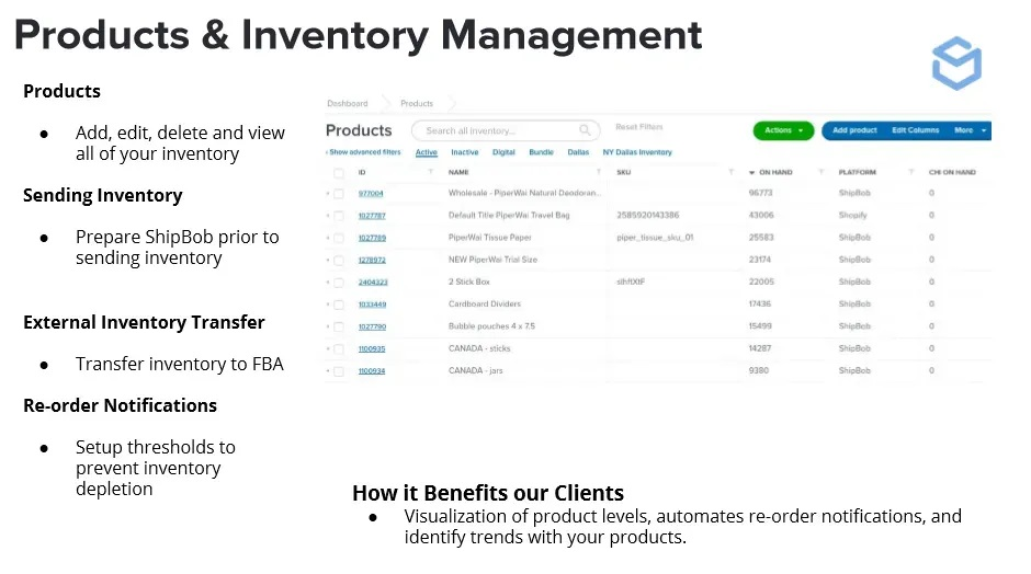 Shipbob product and inventory management