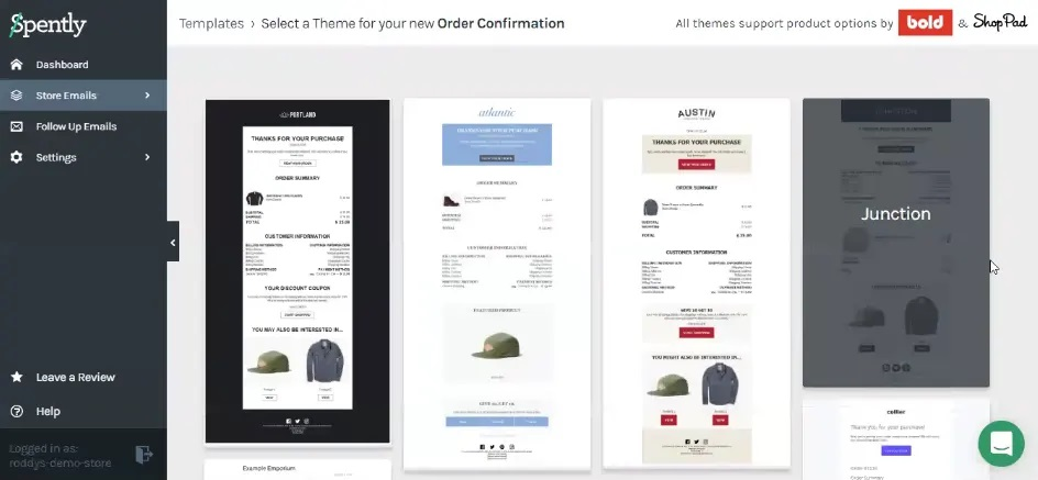 Spently store emails templates