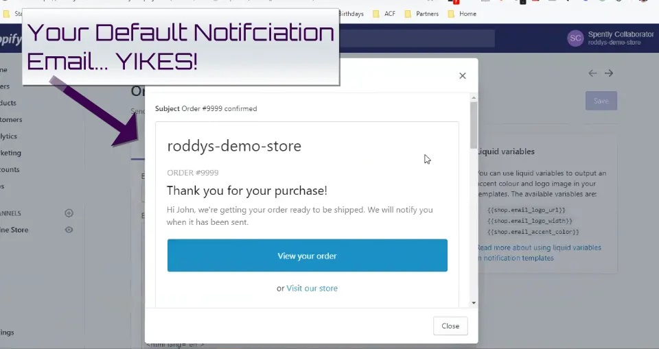 Spently default notification email
