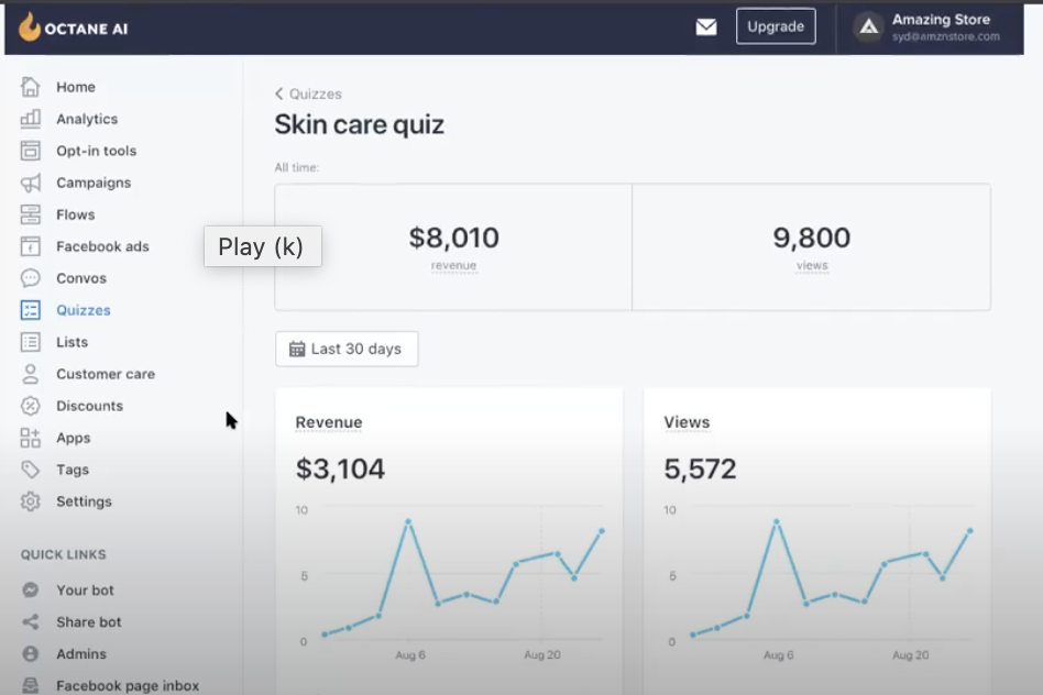 Shoppable Quiz_Analytics Dashboard