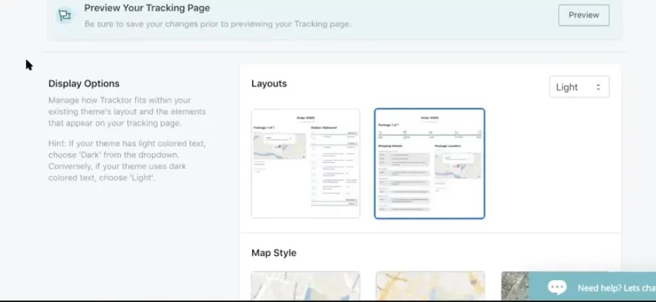 Tracktor Tracking Page Layout