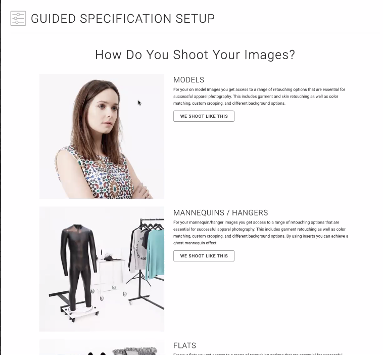 Pixelz_Guided Specification Setup