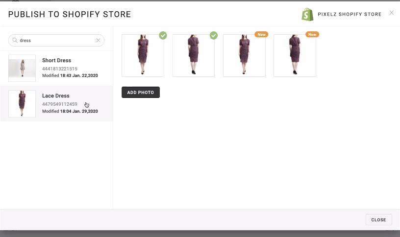 Pixelz_Publish to Shopify Store