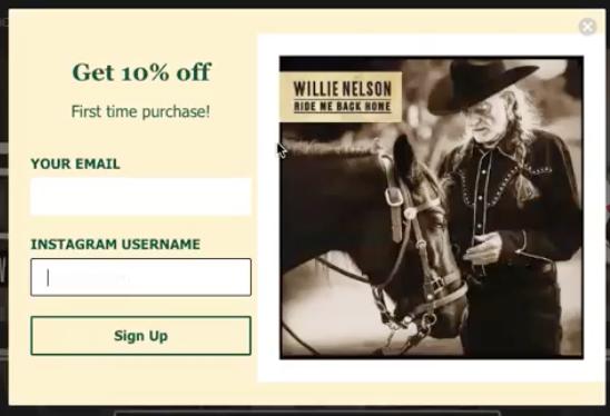 Gatsby Pop Up Widget Willie Nelson