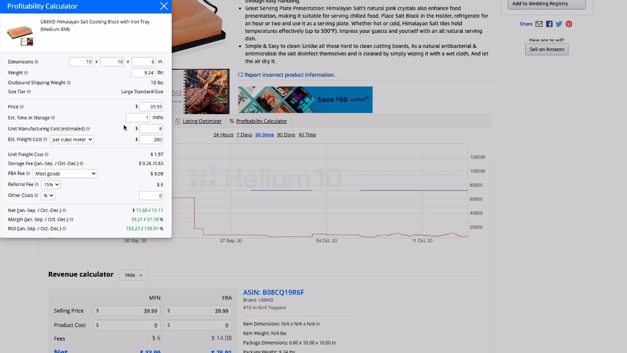 Helium10 Profitability Calculator