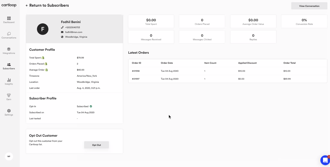 Cartloop customer profile